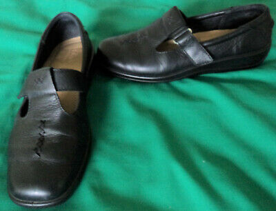 Hotter Comfort Concept. Black Leather Hook/Loop Mary Jane Look Flat Shoes 6.5