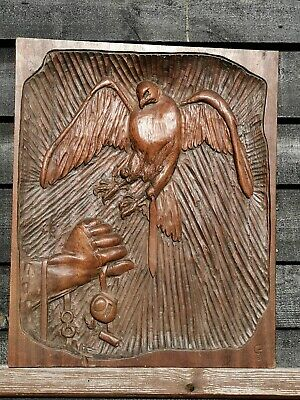 Antique  Arts & Crafts  Oak Carved Falconry Panel Picture By G . Grimble Cromer