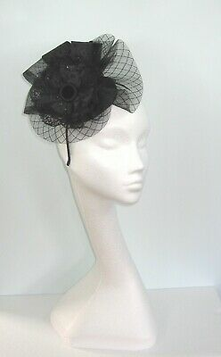Dressy Black Wedding Fascinator on a Hairband Sinamay Lace Feathers Crin Sequins