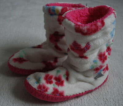 JOULES Chunky Fleece & Sherpa Lining White Pink Floral Girls Slippers Boots 11/1