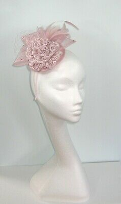 Wedding Fascinator Lavender Baby Pale Light Pink Lace Sinamay Feathers Net Races