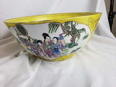 """Excellent old chinese bowl - famille rose, yellow, huge, 12"""" wide"""
