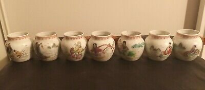 #ANTIQUE CHINESE mortal Qing Dynasty VASE BOWL blue & white painting CUP set lot
