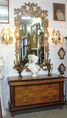 Antique French Neoclassical Console Chest  Burled Walnut Marble Top Circa 1890