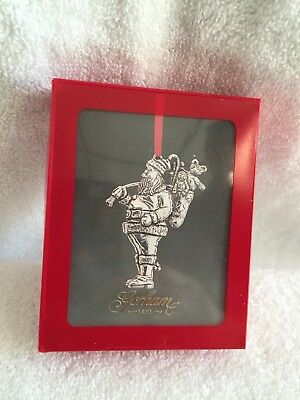 Gorham Silver Plate Santa Christmas Treasures Ornament 1984 boxed