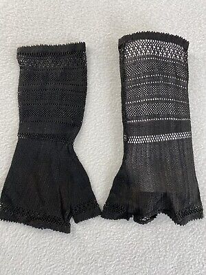 Vintage Victorian Black Knitted Lace Fingerless Gloves