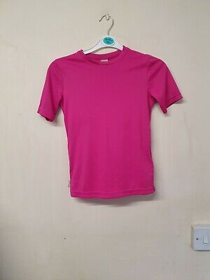 girls pink base layer short sleeved t-shirt top age 10 yrs  by Decathlon