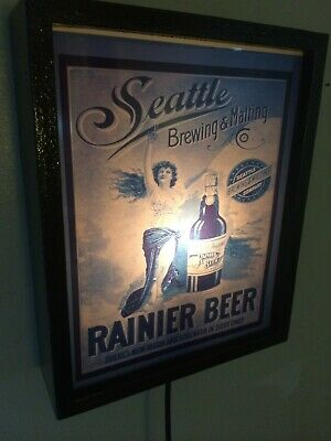 Rainier Seattle Girl Beer Bar Tavern Man Cave Lighted Advertising Sign