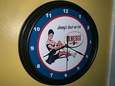 Genesee Jenny on Ice Beer Bar Man Cave Advertising Black Wall Clock Sign
