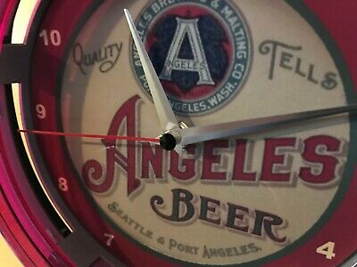 Angeles Seattle Beer Bar Advertising Man Cave Neon Wall Clock Sign