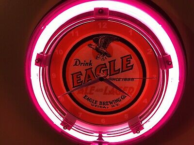 Eagle Ale Utica New York Beer Bar Advertising Man Cave Neon Wall Clock Sign