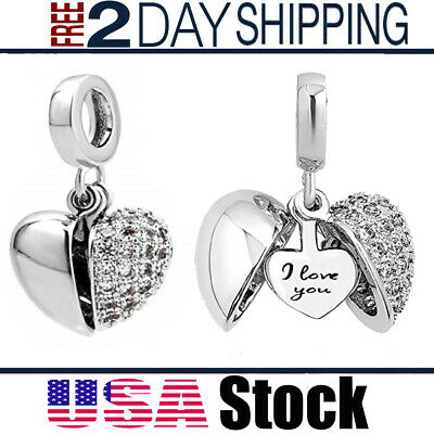 NEW Pandora Charms Bracelet I Love You Heart Bead Women Valentine's Gift