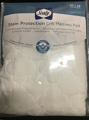Sealy Stain Protection Crib Mattress Pad 52 X 28 NEW In Package Waterproof Soft