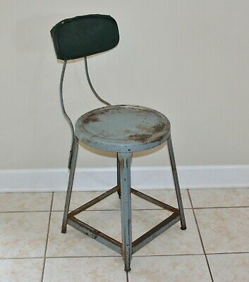 Vtg. USA! Industrial Machine Shop Art + Metal-Steel Stool w-Backrest Mid-Century