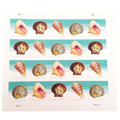 POSTCARD Postage Stamps Seashells 1 Sheet of 20 USPS First Class Forever Sand Su