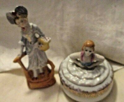 Two German Hand Painted Antique Figures, one a Powder Box