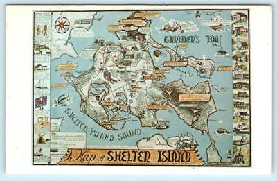 SHELTER ISLAND, Long Island New York NY ~ Pictorial MAP POSTCARD ca 1960s