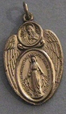Vintage Catholic Religious Holy Medal - MIRACULOUS - Mother Mary - Angel Wings