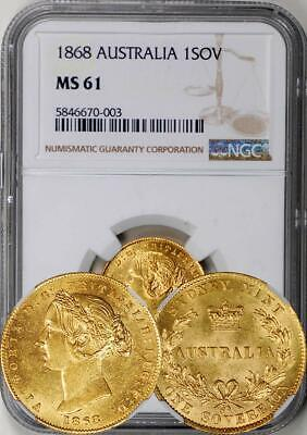 Australia 1868-SY Gold 1 Sovereign NGC MS-61 - Rare in UNC! Undergraded!