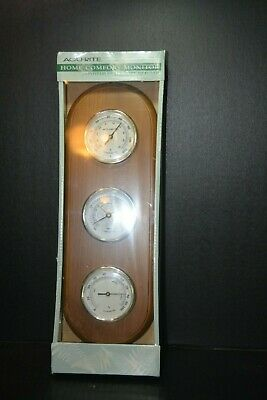 Vintage ACU-RITE WEATHER STATION Barometer Thermometer Humidity Wood Plaque