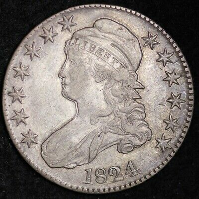 1824 DOUBLE PROFILE Capped Bust Half Dollar CHOICE XF+/AU FREE SHIPPING E276KCFT
