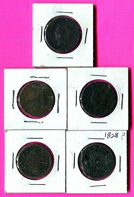 Lot of 5 Culls > UNITED STATES LIBERTY CORONET HEAD LARGE COPPER One CENT COIN