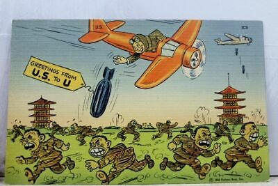 Comic Cartoon World War II Greetings US to U Japan Japanese Postcard Old Vintage