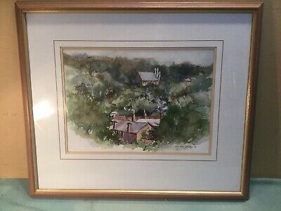 Aimee Killy 90 Town Scene Framed Watercolour Painting