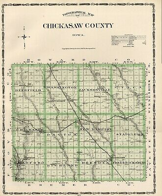 CHICKASAW County Iowa Map Authentic 1904 (Dated) w/Towns, TWPs, RRs, Topography