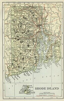 Rhode Island Map SMALL: 100 Years Old; Counties, Towns, Topography, Railroads