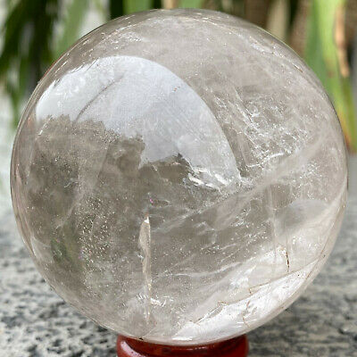 435g  Natural Clear White Quartz Crystal Ball Sphere Rainbow Healing Stone/china