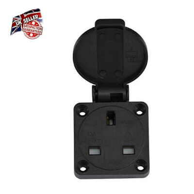 13 AMP Black  Panel Mount Socket Connector 2P+E 230V IP54 UK Mains