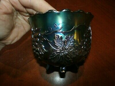 Vintage Antique Carnival Glass Blue Iridescent Deep Footed Bowl Dish