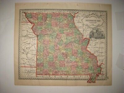 Antique 1888 Missouri Kansas Handcolored Map Railroad Jefferson City Topeka Fine