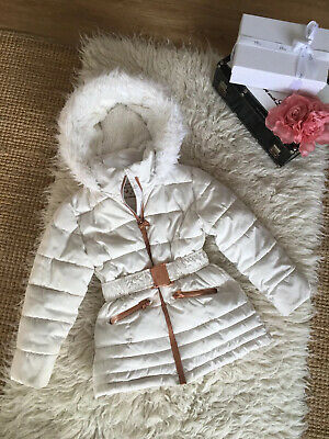 Ted Baker Ivory/Off-white Girls Winter Quilted Padded Coat Rose Gold Bow Age 7