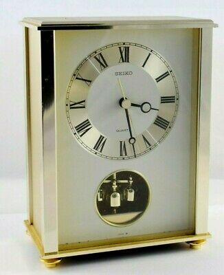Seiko Quartz Brass Mantle Clock with rotating pendulum - fully working