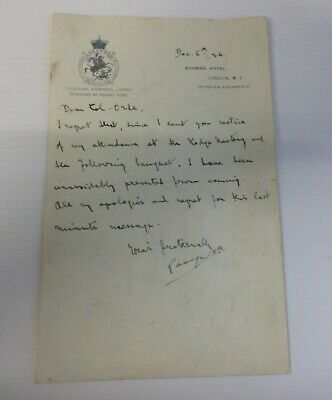 Rare Letter From King George Ii Of Greece To Colonel Orde About A Lodge Meeting.