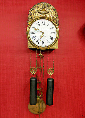 Old Wall Clock Comtoise in Brass *DUBOIS.A.SAVERNE*pulleys weights Lyra Pendulum