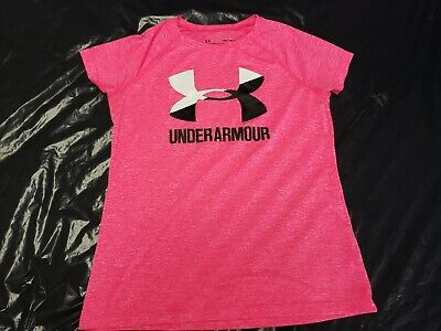 Girls Under Armour Pink S/S Loose Fit Heat Gear T Shirt Size Youth Medium