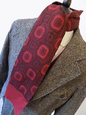 VINTAGE mens  mod 70's BURGUNDY RETRO PATTERN SCARF FRAY ENDS 10 x 46""