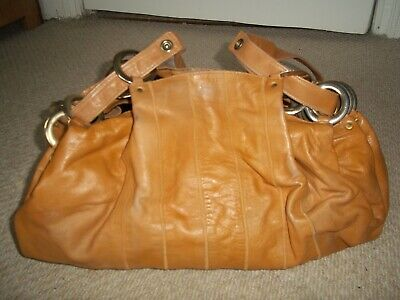 Stunning Vintage Large Tan Leather Shoulder Bag/Tote