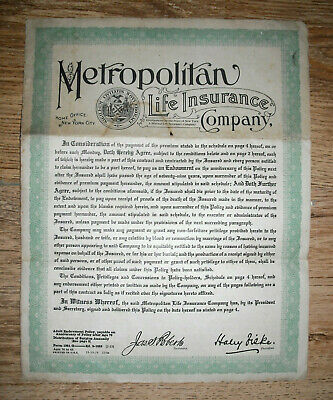 1925 Life insurance policy, Metropolitan Life Insurance Co. New York