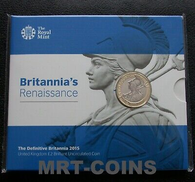2015 Royal Mint Two Pound £2 - Definitive Britannia in folder BU