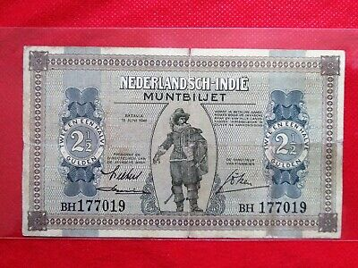 1940 Netherlands Indies 2½ Gulden Old Banknote P-109 (Rare)