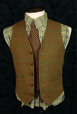 Mens Vintage Country Tweed Vintage Waistcoat Quality David Ripper  38 39 small