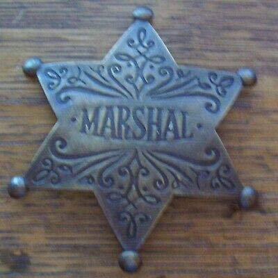 brass star Badge: Deluxe engraved Marshal Police Lawman Old West
