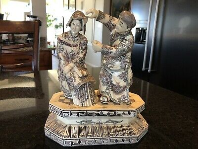 Hand Carved Chinese Statue with Imperial Figures Marked
