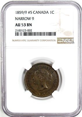 1859/9 #5 Canada One Cent Narrow 9 NGC AU 53 BN -Only four graded higher #150794