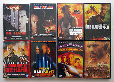 8 DVDs Job Lot, Films Movies Action - Bruce Willis Collection