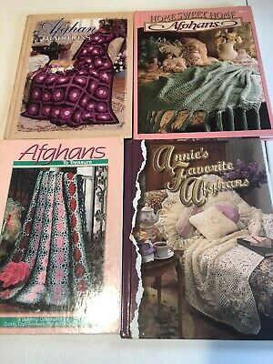 Lot Of 4 Vintage Style Crochet Afghan Books Hardcover Used